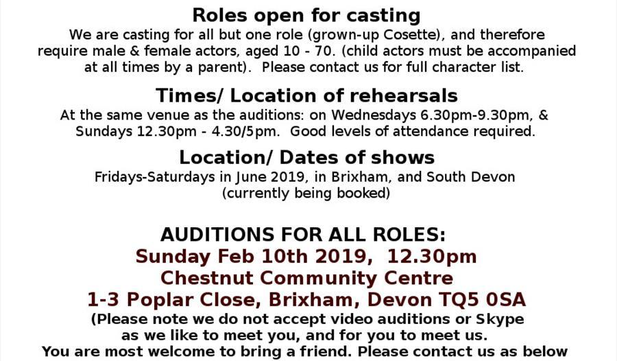 Les Miserables - open theatre auditions, Brixham - Visit South Devon