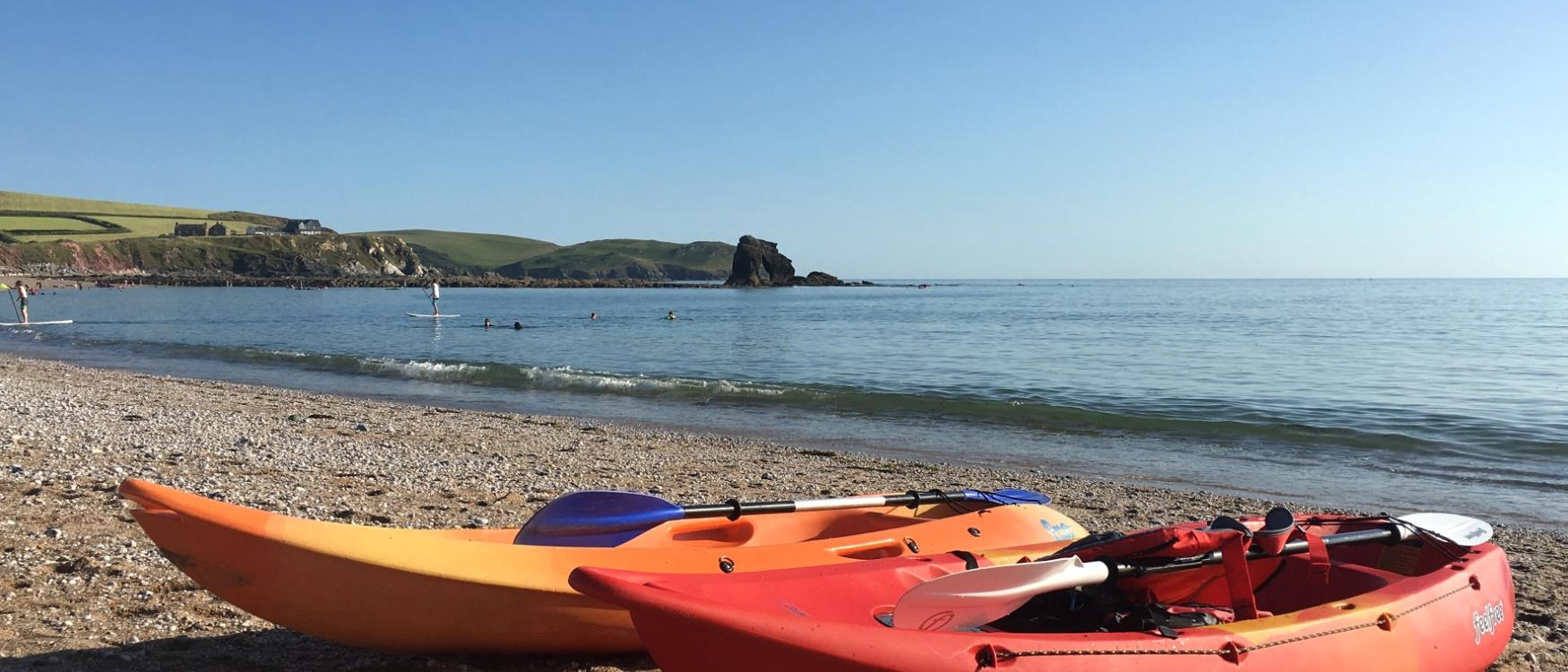 Kayaks on Thurlestone Beach