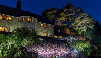Coleton Fishacre, Devon, house and gardens are illuminated for Christmas