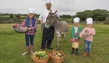 Children preparing for fun food activities at The Donkey Sanctuary Family Food Fair