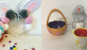 Pom Pom Bunny Headband & Easter Pottery Painting - Children's craft workshop